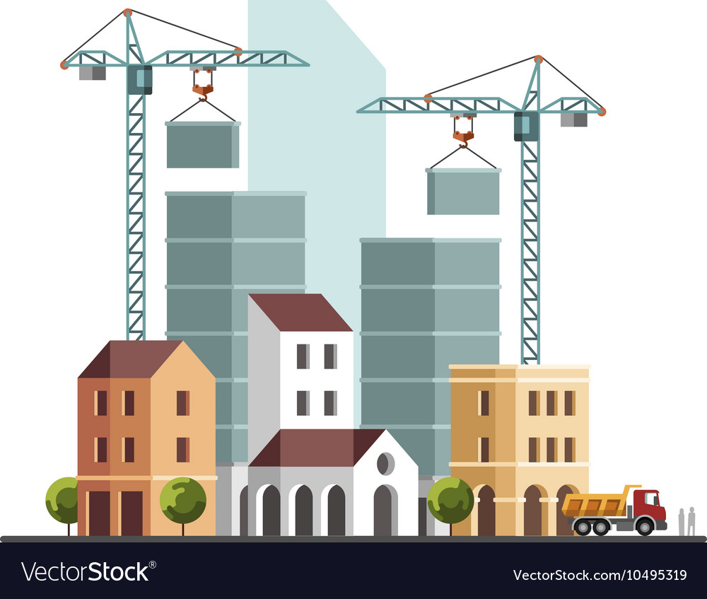 Under construction building business vector