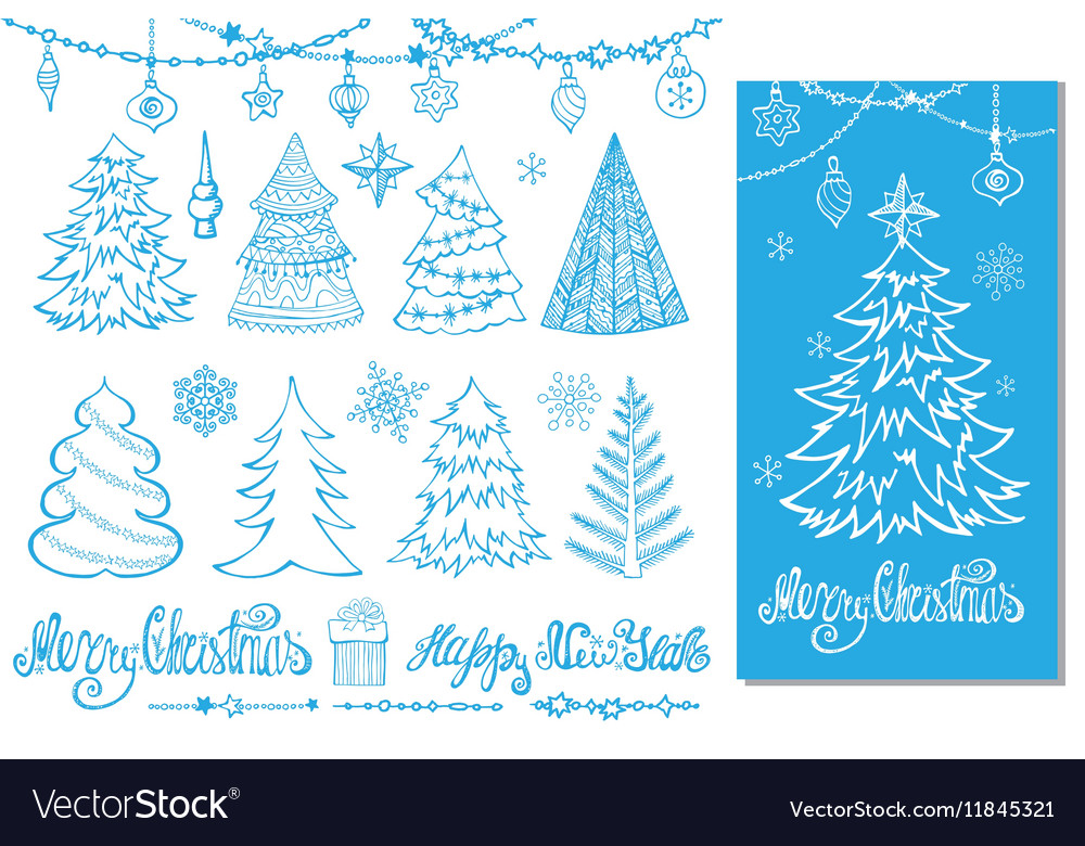 Christmas tree ballsdecortitlesblue card vector