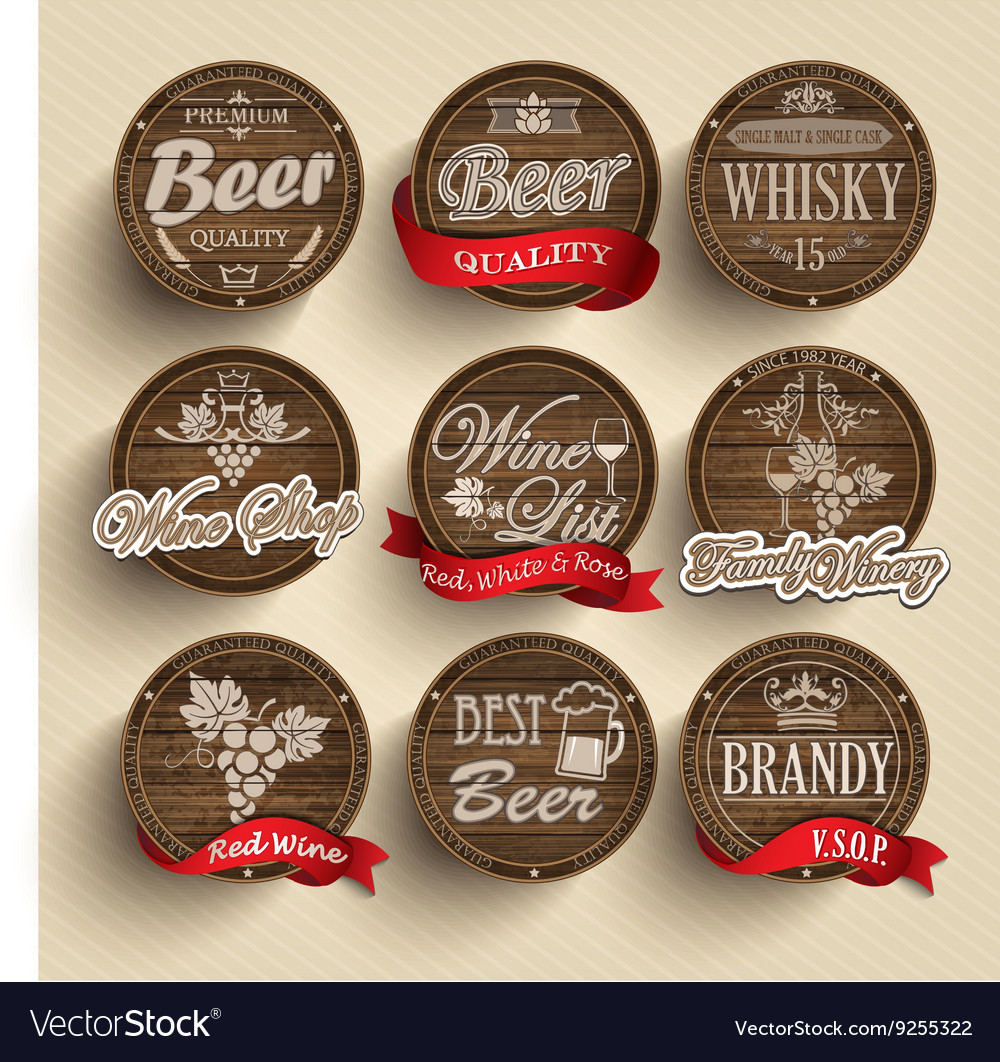 Casks with alcohol emblems vector