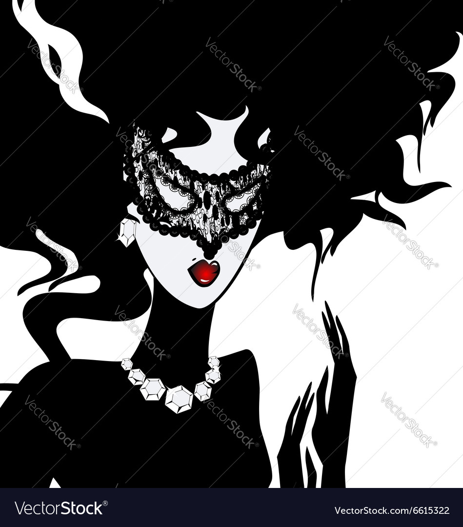 Lady in lace mask vector