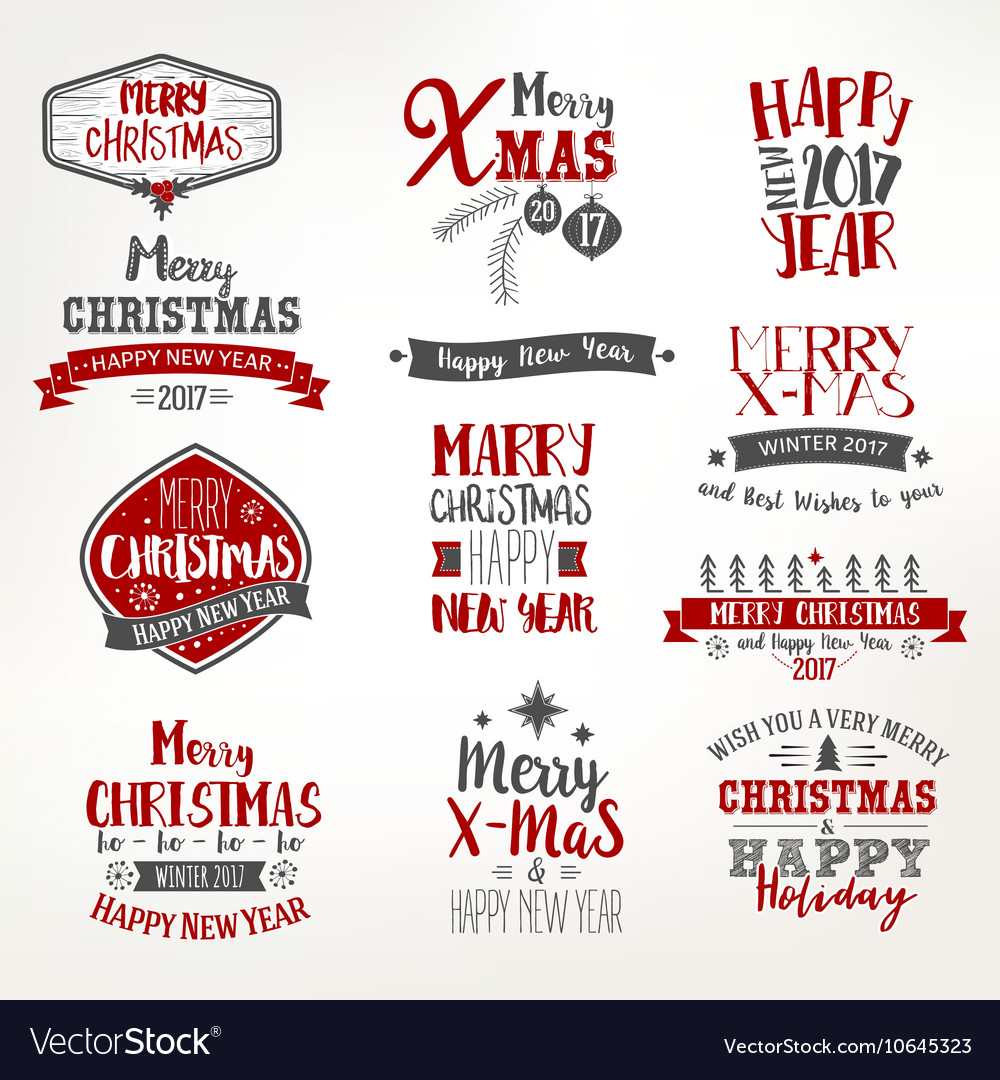Bright christmas lettering set vector