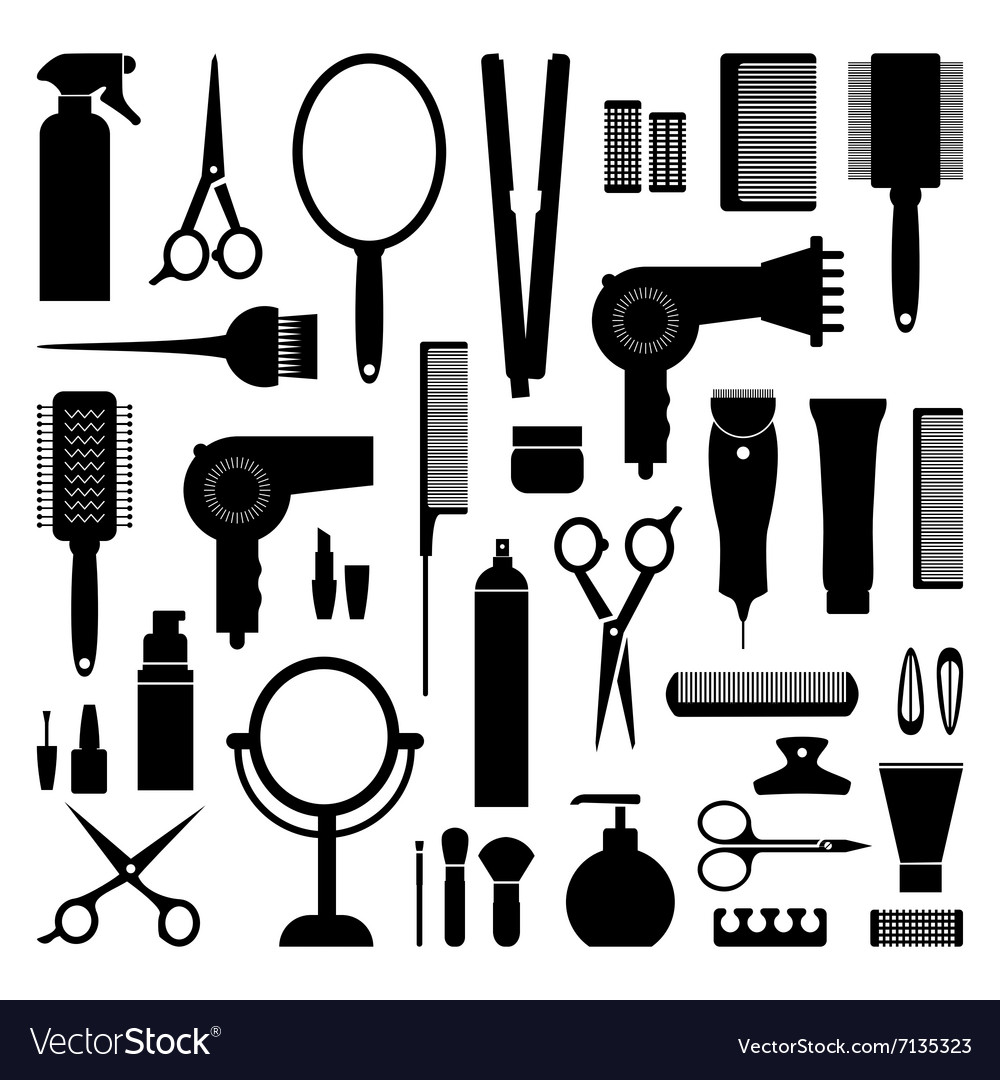 Hairdressing equipment vector