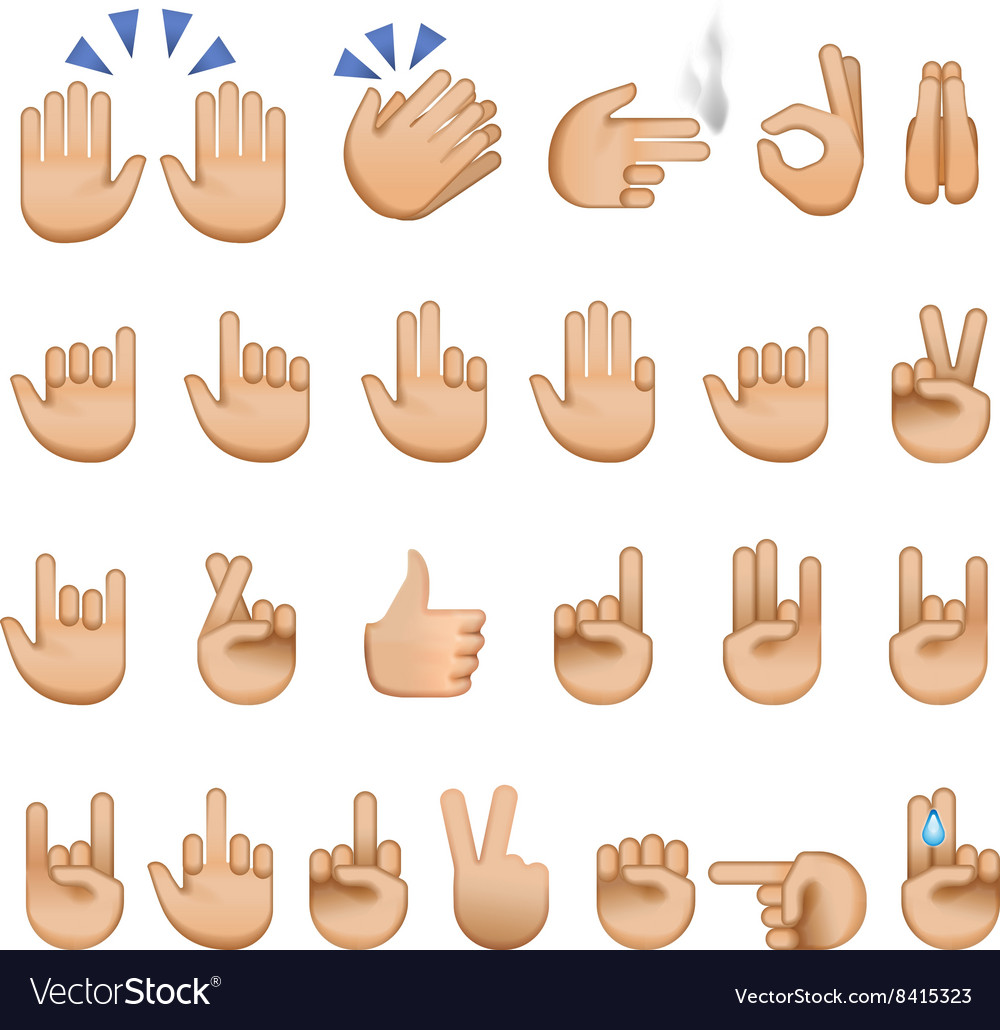 Set of hands icons and symbols emoji vector
