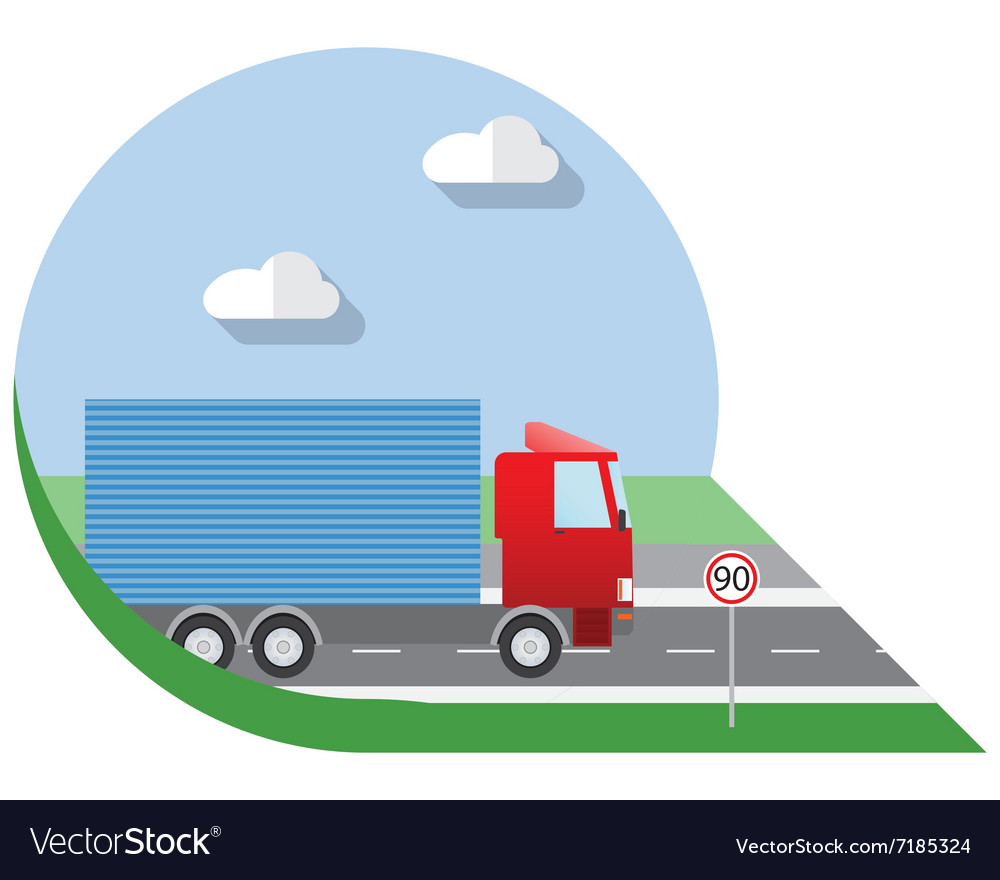 Flat design city transportation small truck for vector