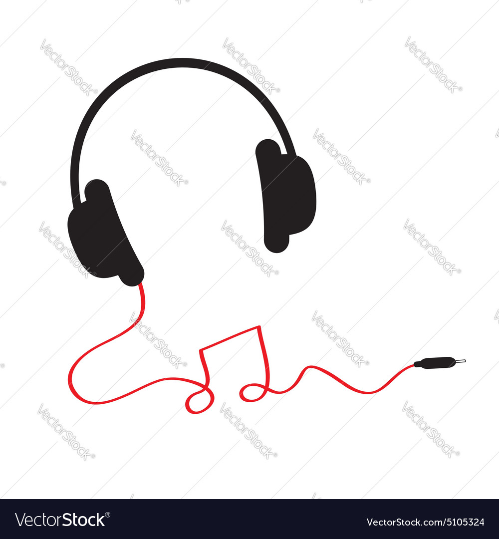 Headphones red cord in shape of note flat vector