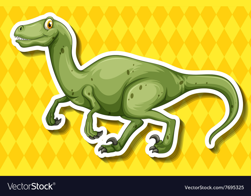 Green dinosaur running on yellow background vector