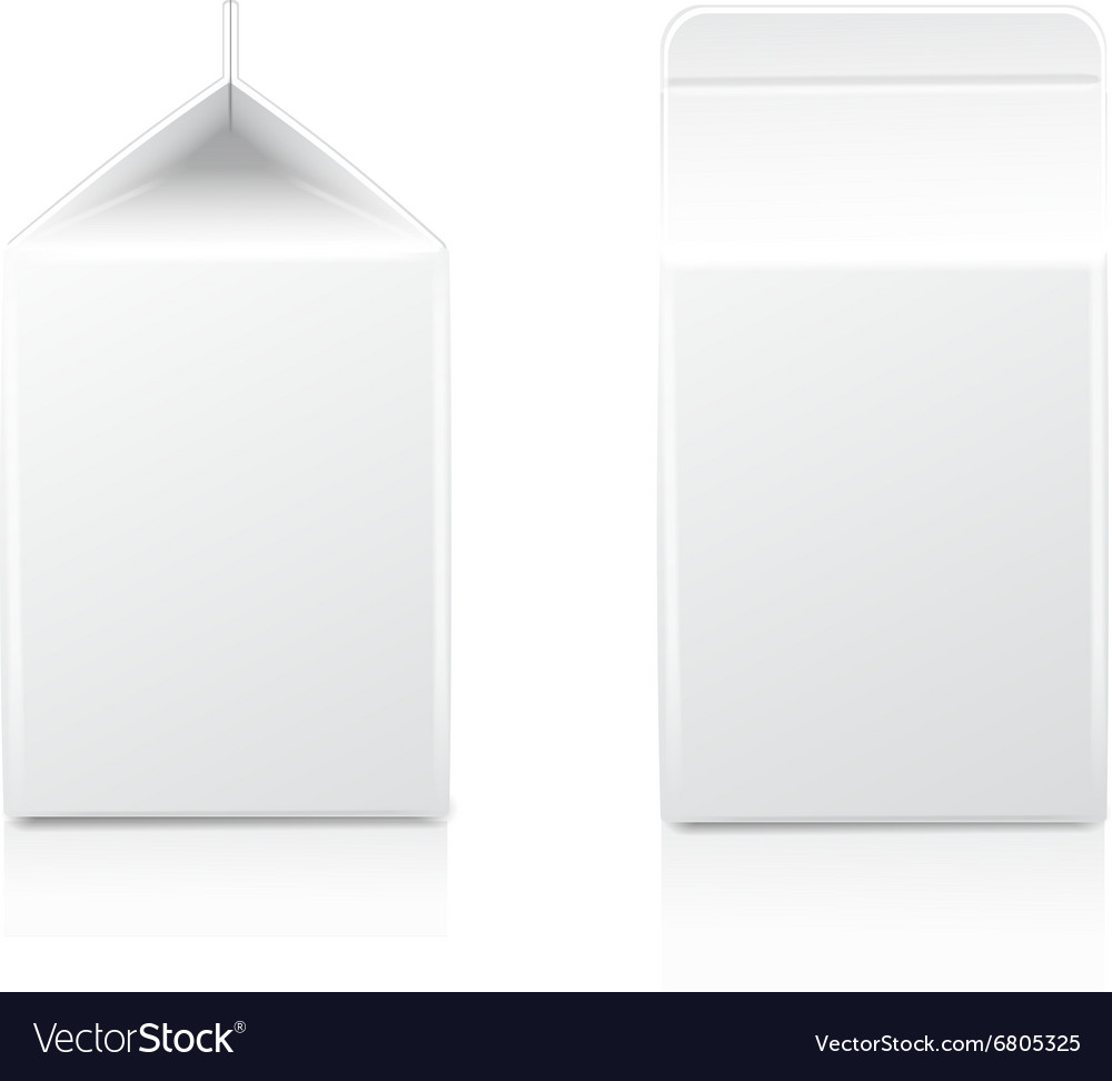 White halfliter cardboard brick package for diary vector