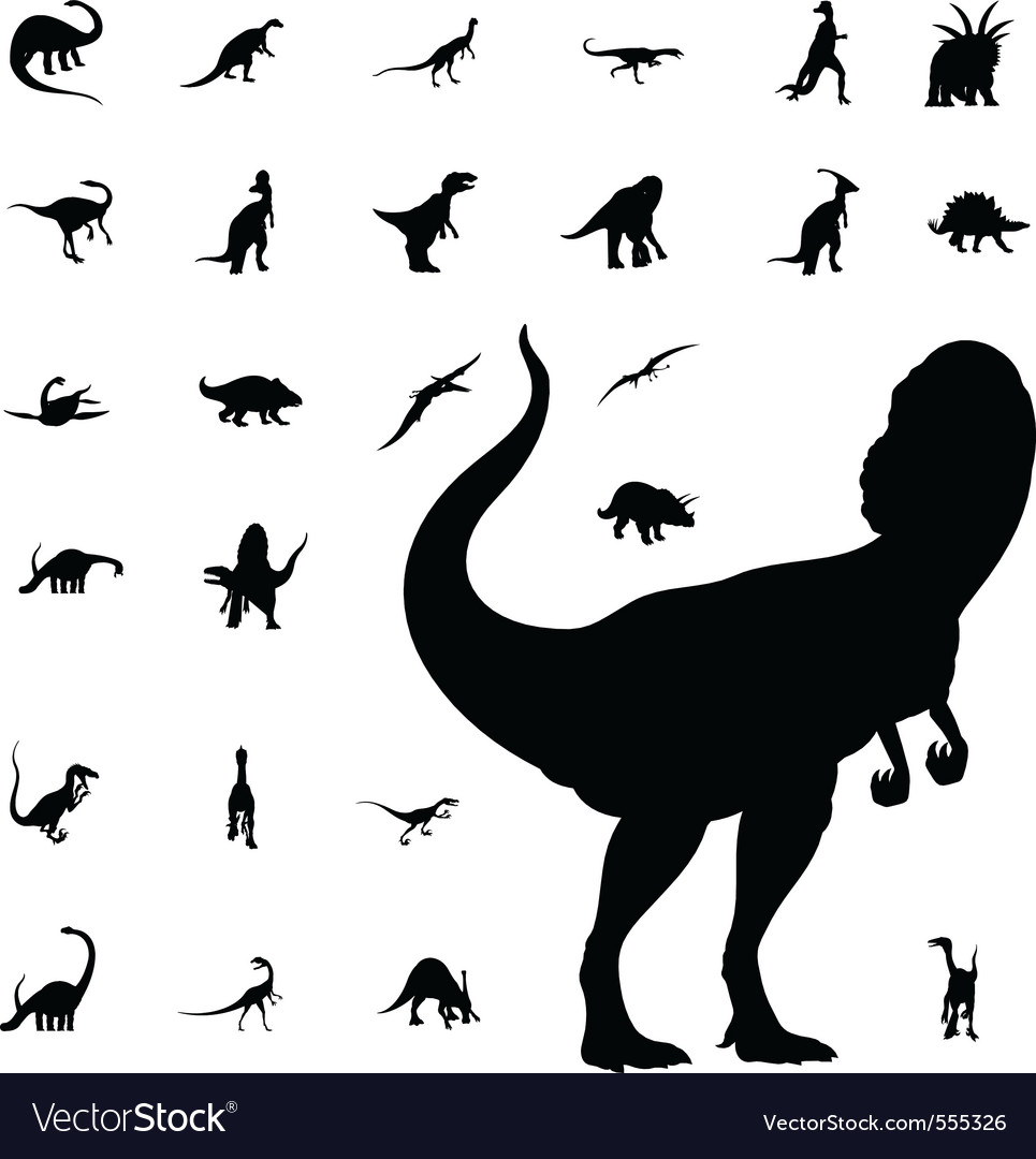 Dinosaur silhouette collection vector
