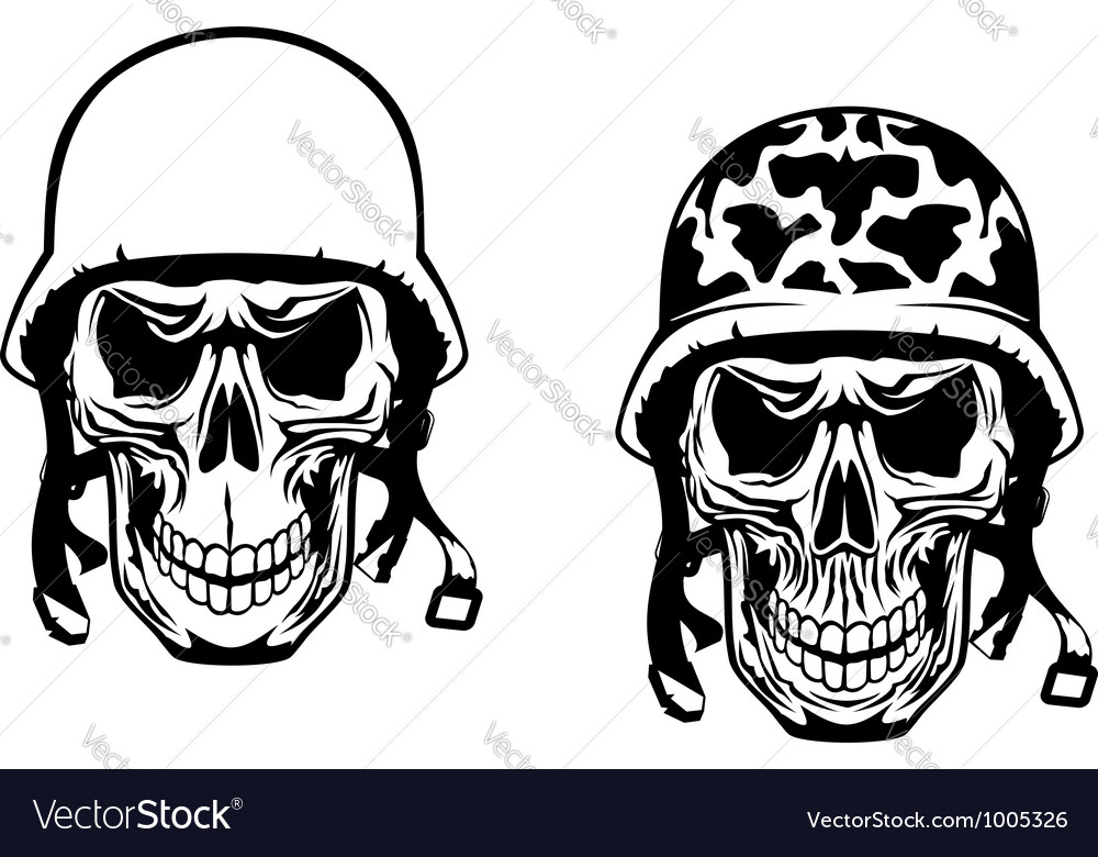 Warrior and pilot skulls in military helmets vector