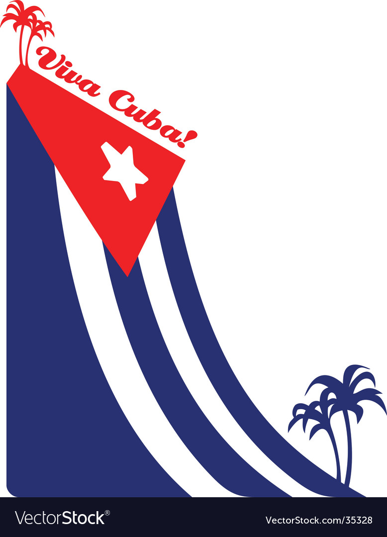 Cuba flag and palm vector