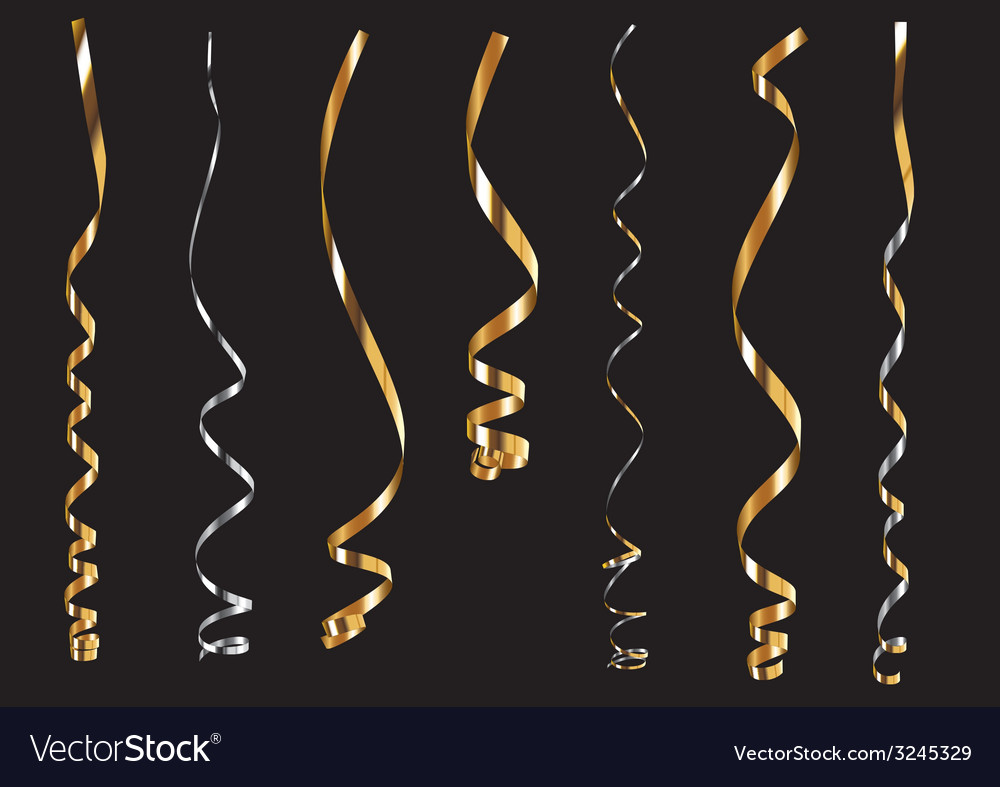 Gold ribbons vector