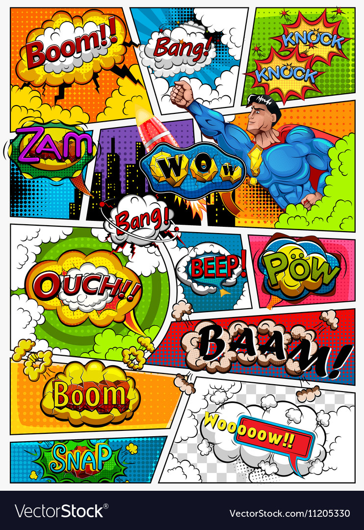 Comic book page divided by lines vector