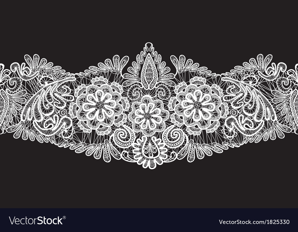 Seamless stripe  floral lace ornament  white on vector