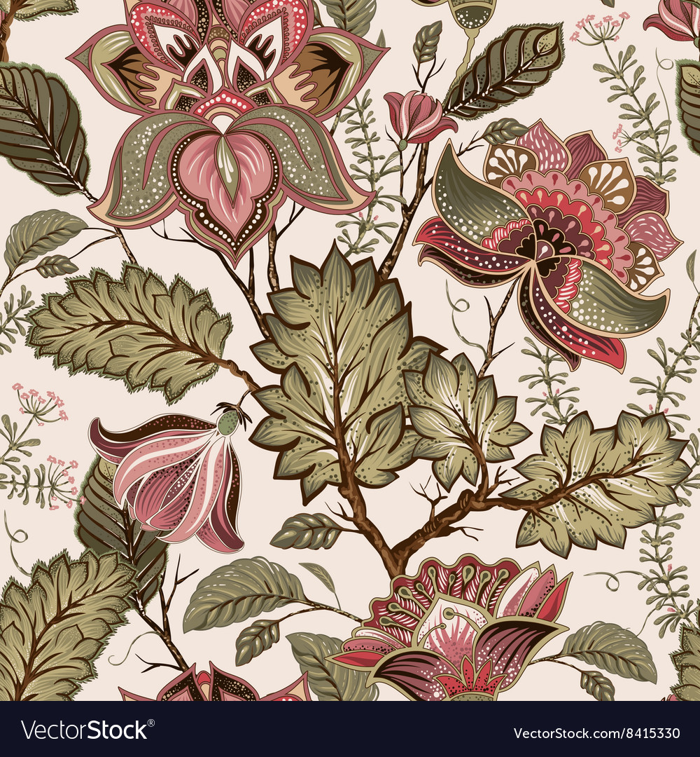Vintage seamless flowers pattern in provence style vector