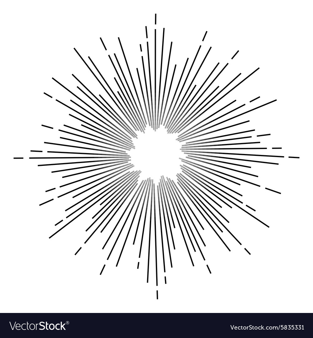Vintage monochrome star burst vector