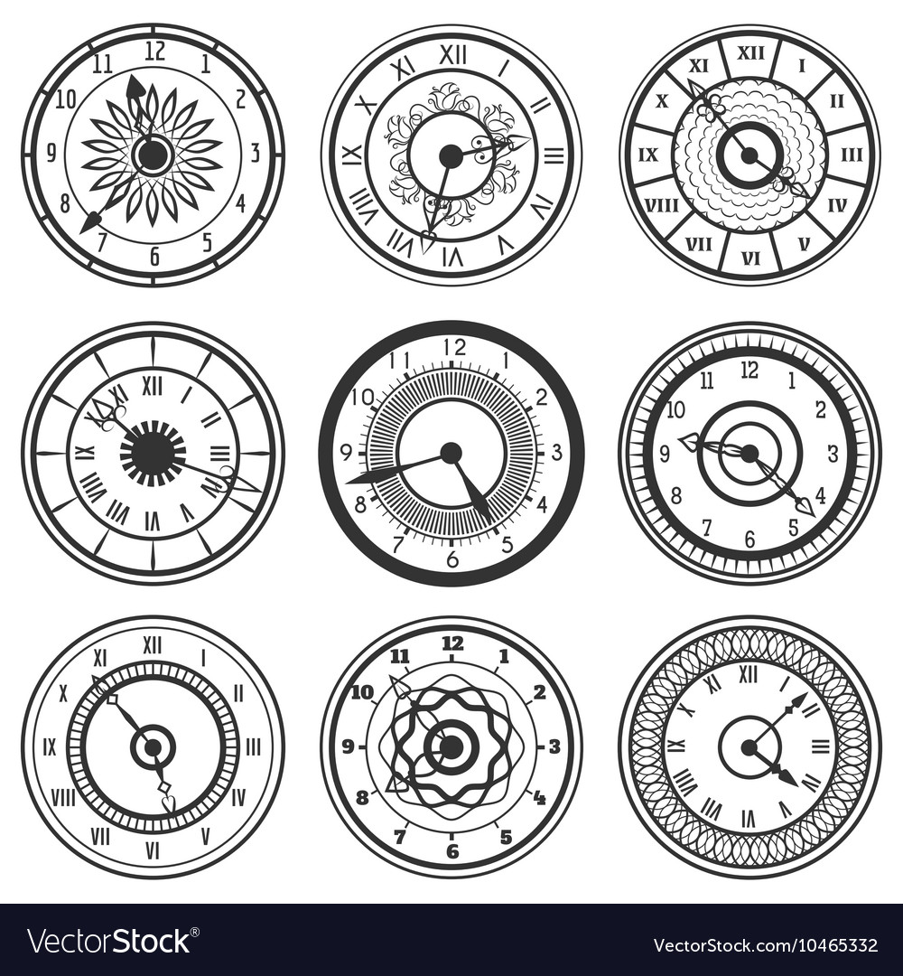 Set of ornamental watches vector