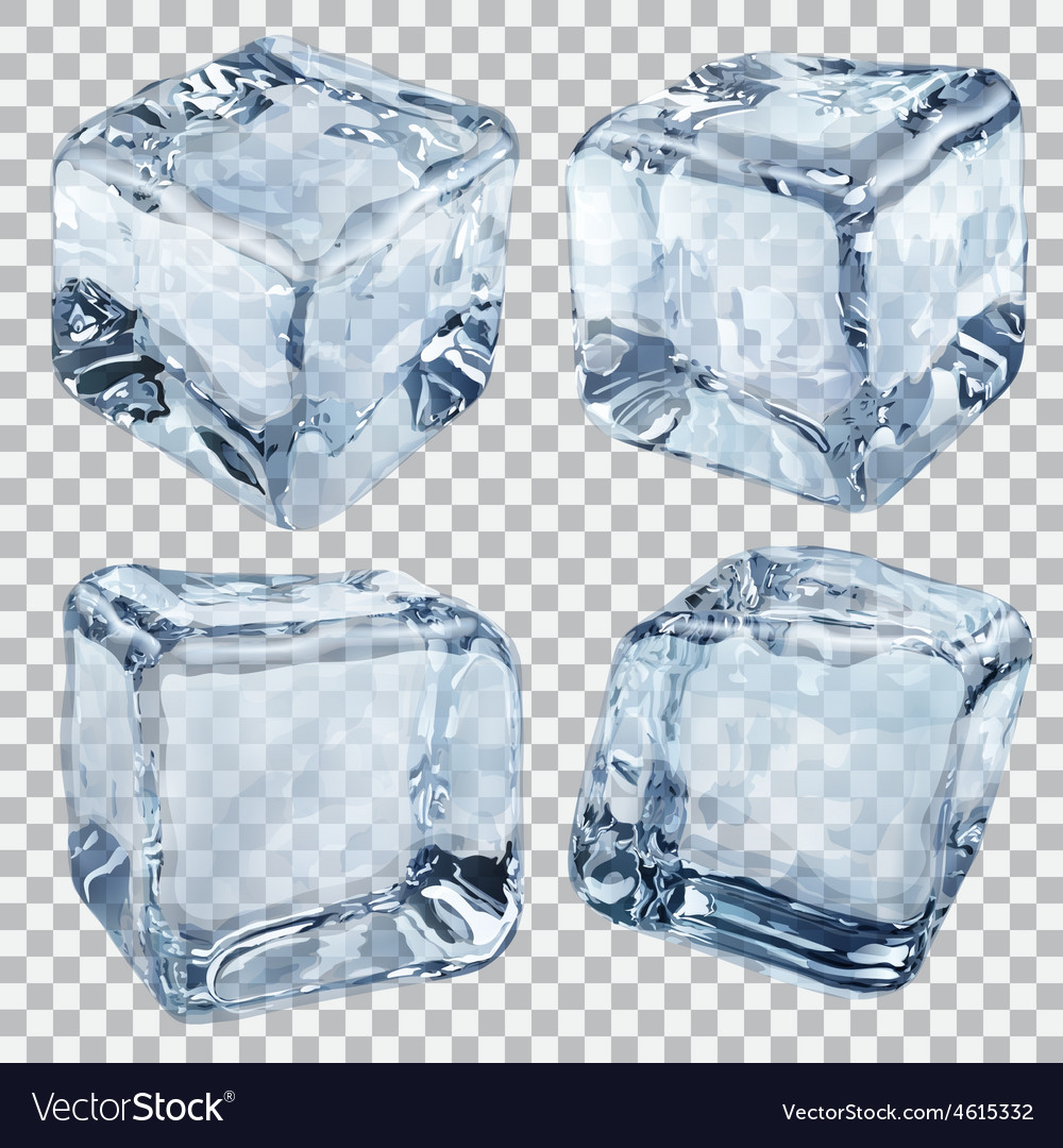 Transparent ice cubes in light blue colors vector