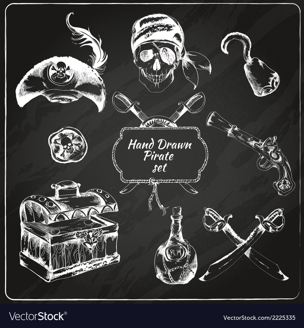 Pirates chalkboard icons set vector