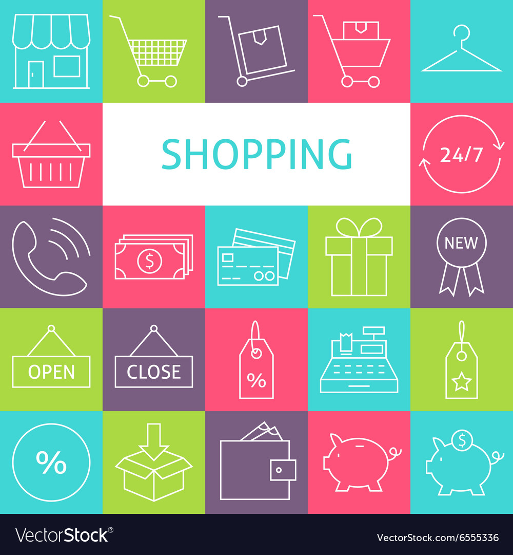 Line art modern shopping and retail icons set vector