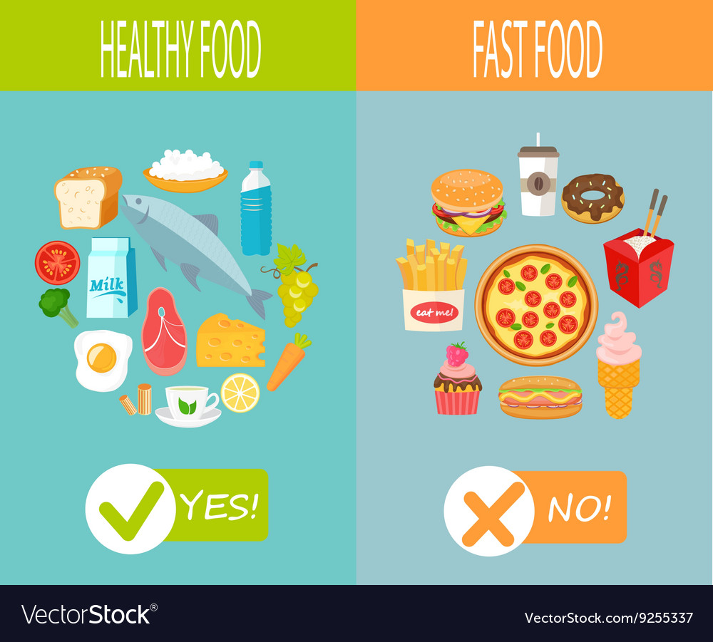 Healthy food and fast food vector