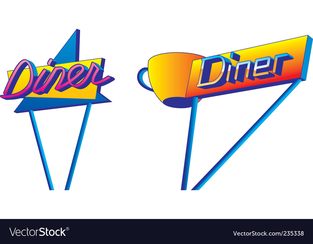 Diner signs vector