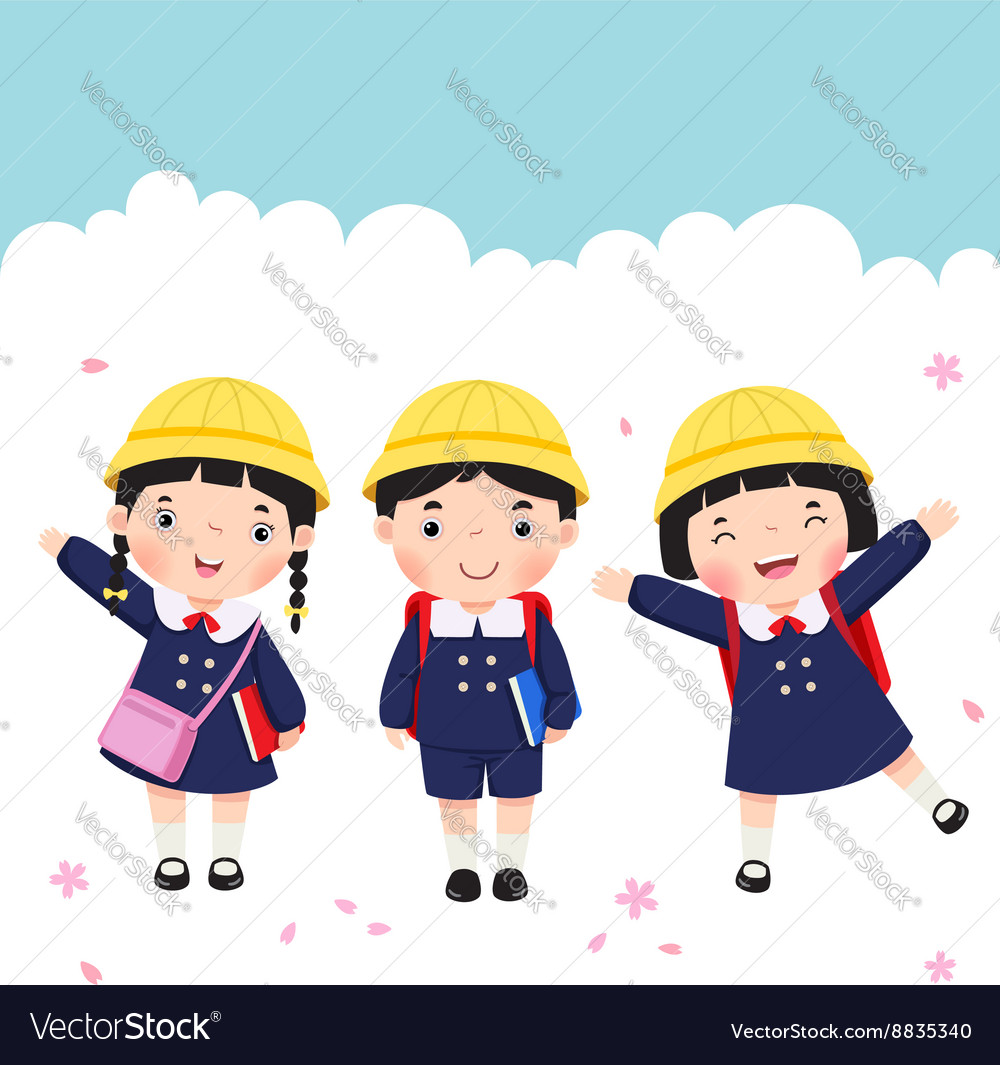 Japanese student in school uniform going to school vector