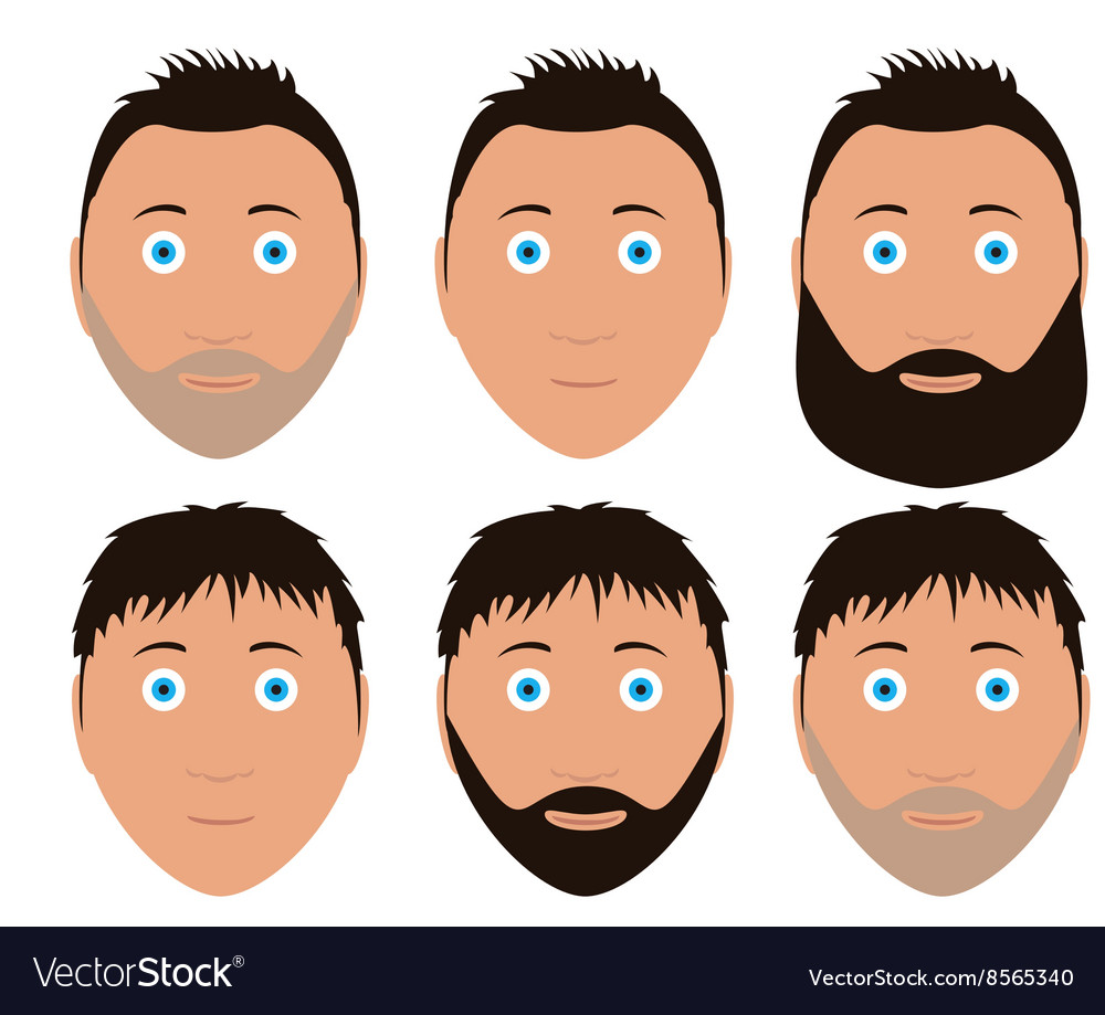 Set of man faces with different hairstyle vector