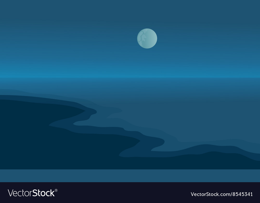 Beach at night scenery with moon vector