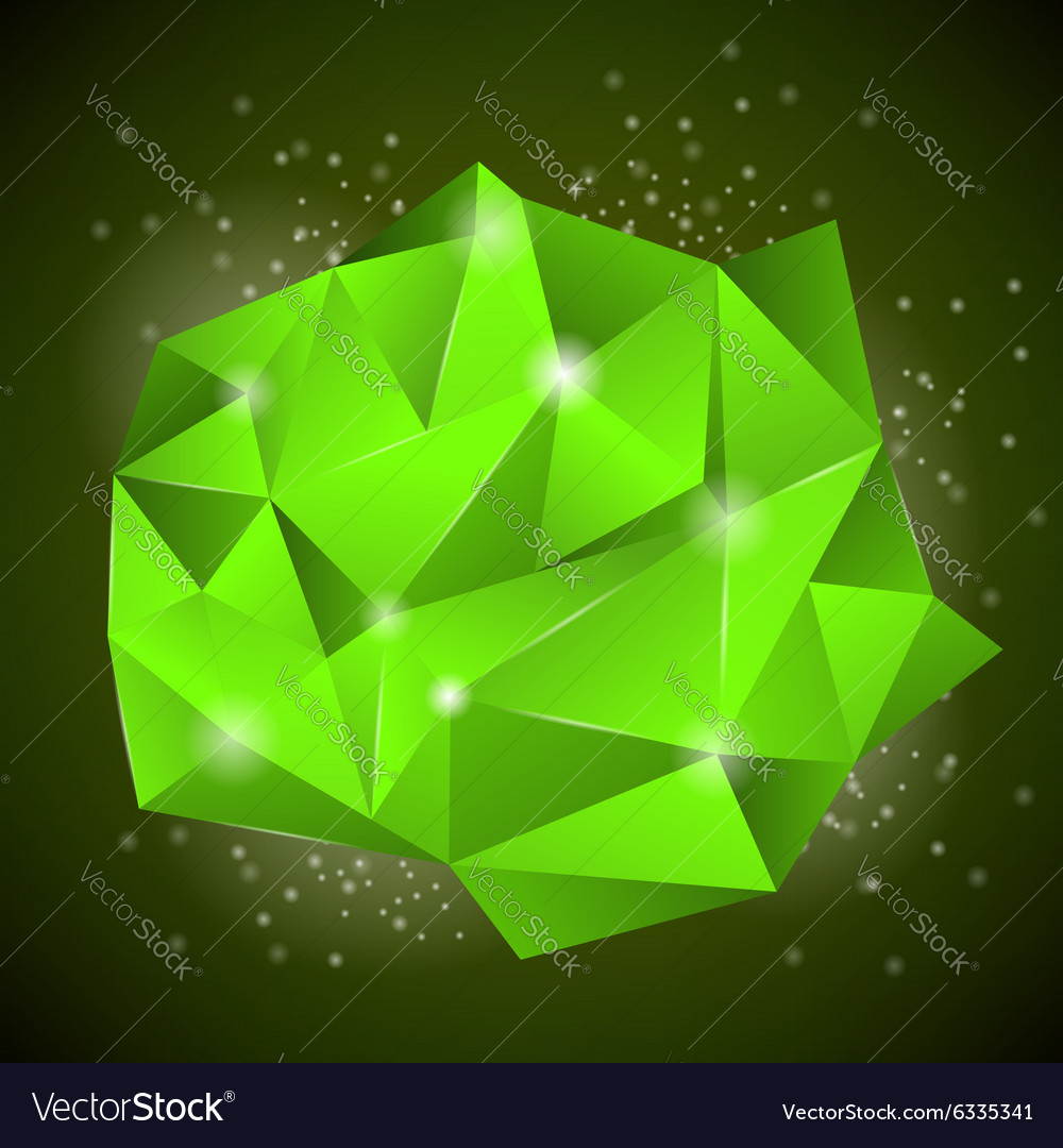 Green polygonal stone vector