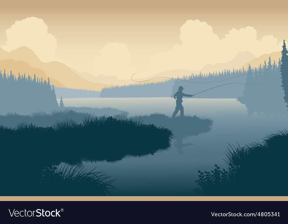 Wilderness angler vector