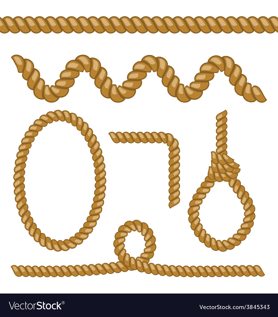 Different rope elements and forms isolated on vector