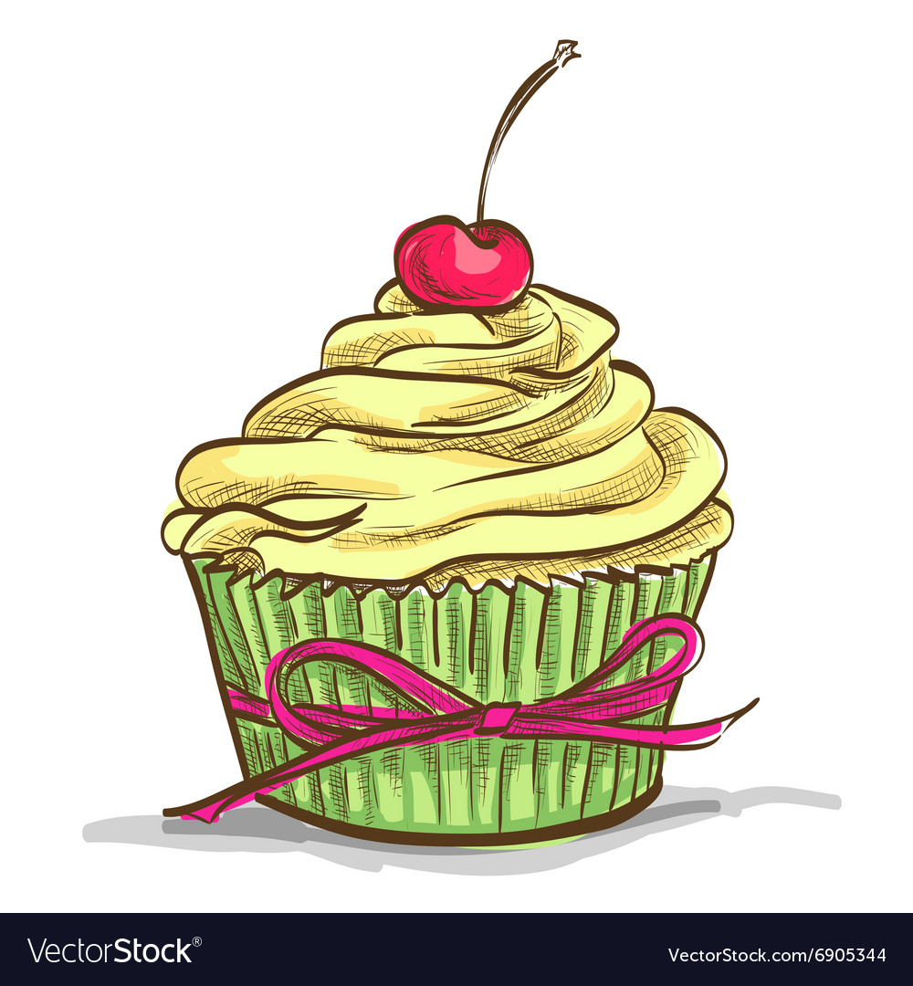 Ice cream sundae cupcake vector