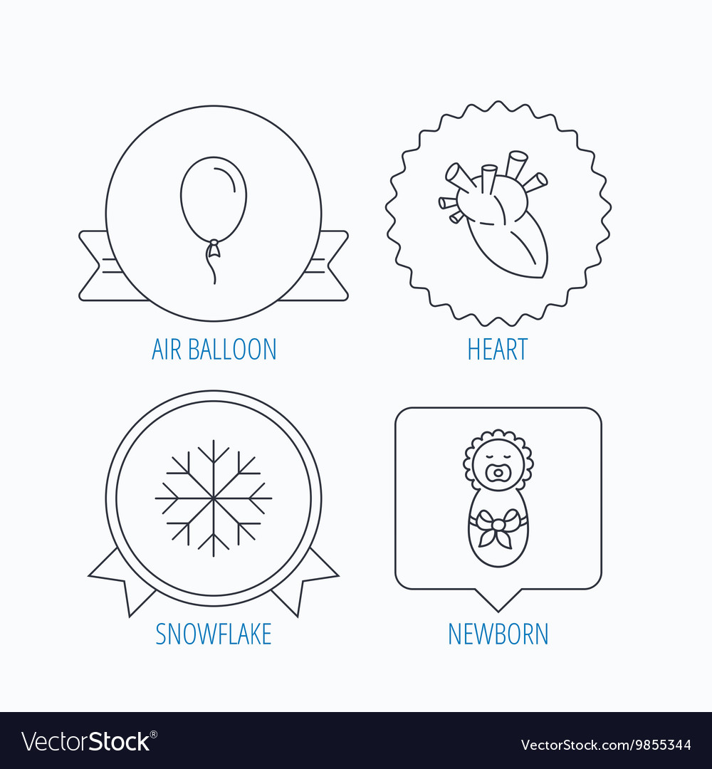 Newborn heart and air balloon icons vector