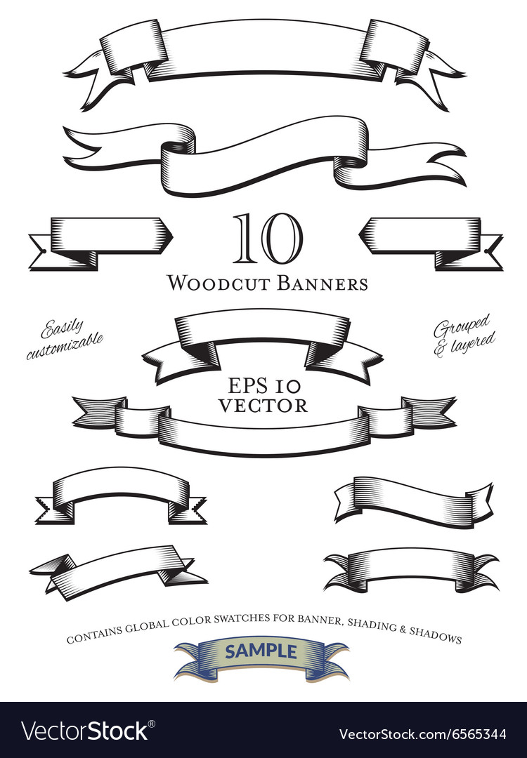 Woodcut banners set vector