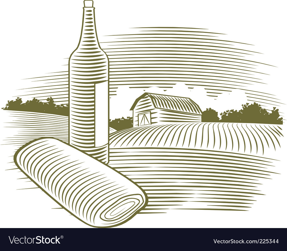 Woodcut wine bottle vector