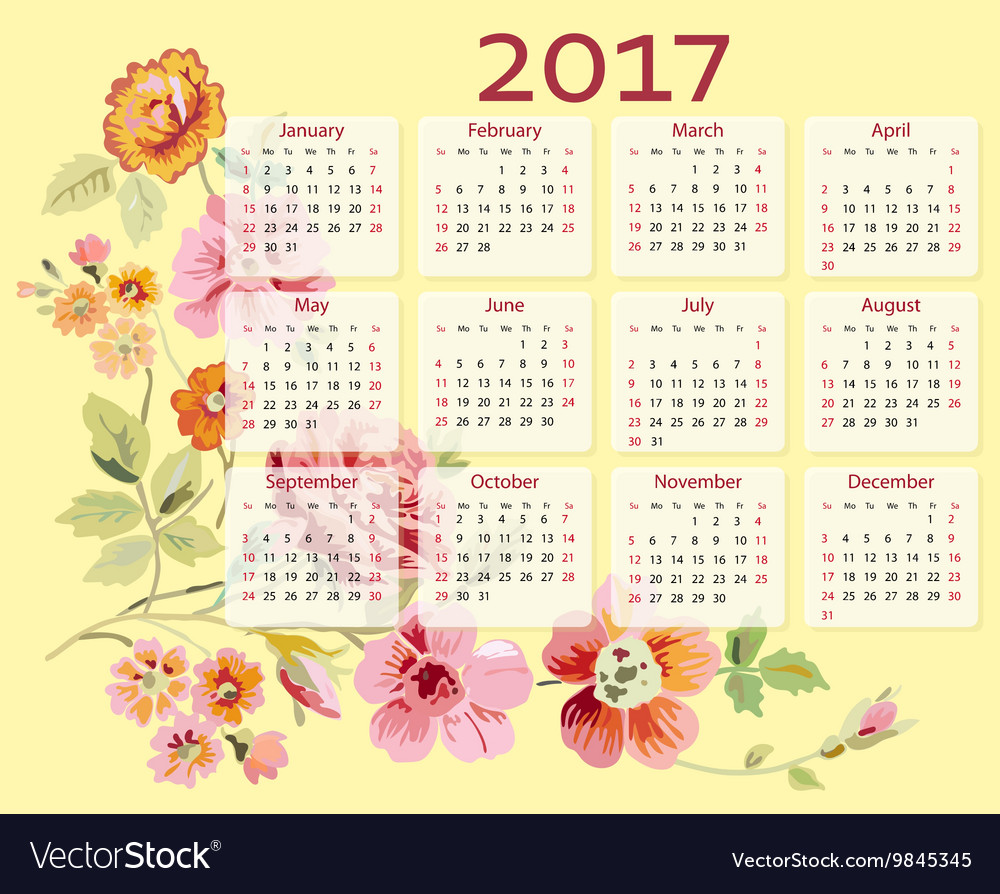 Calendar 2017 year with flowers vector