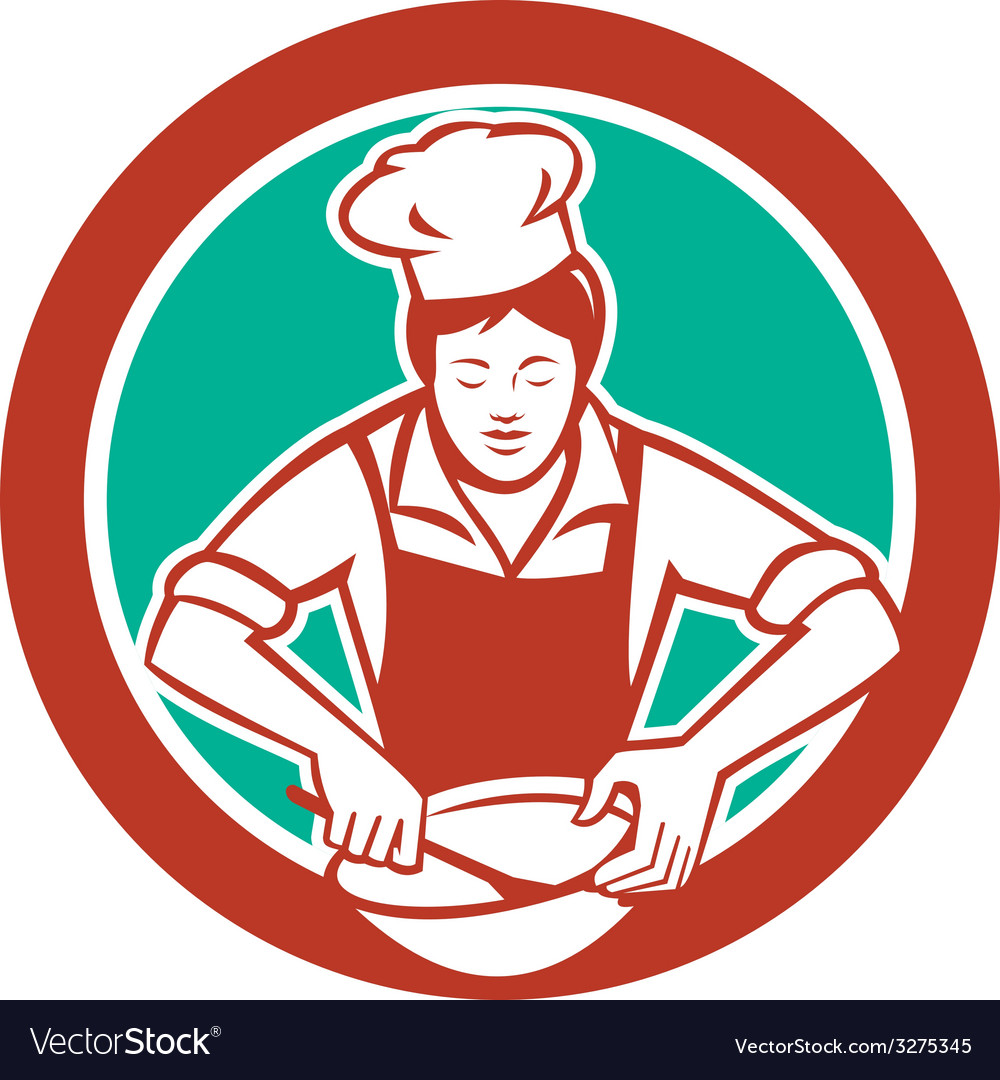Female chef mixing bowl circle retro vector