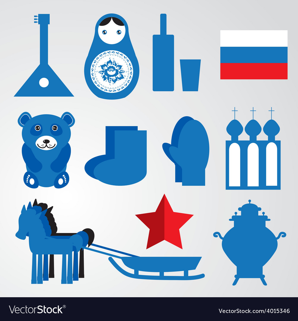 Travel set of various stylized russian icons black vector