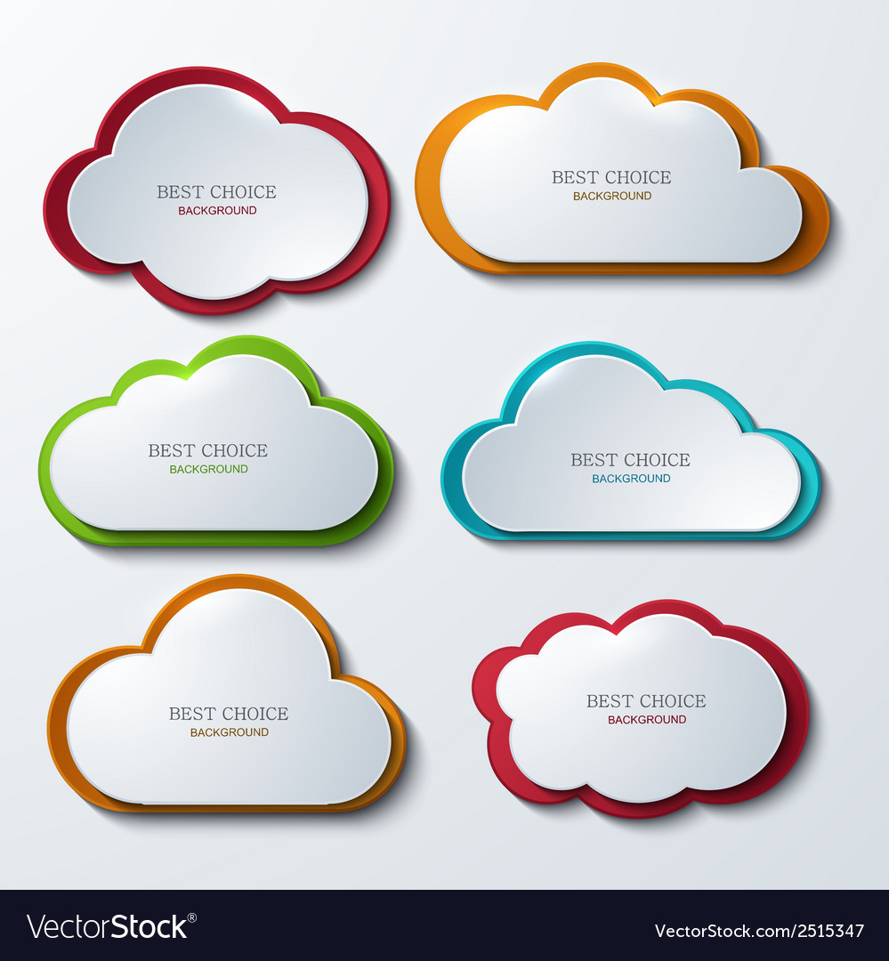 Modern clouds banners set vector
