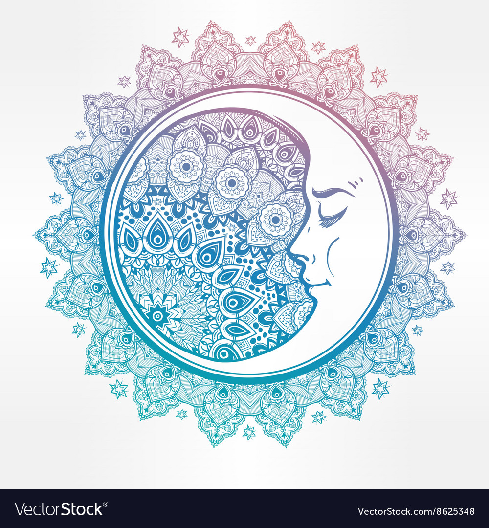 Bohemian ornate crescent moon vector