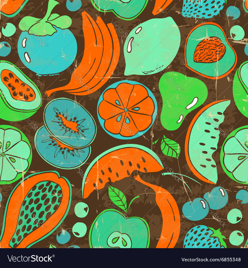 Retro colorful fruit seamless pattern vector