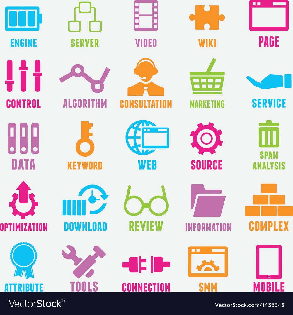 Set of seo and internet service icons  part 2 vector