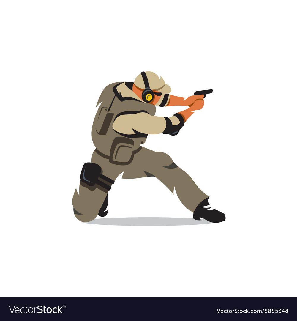 Tactical shooting warrior cartoon vector