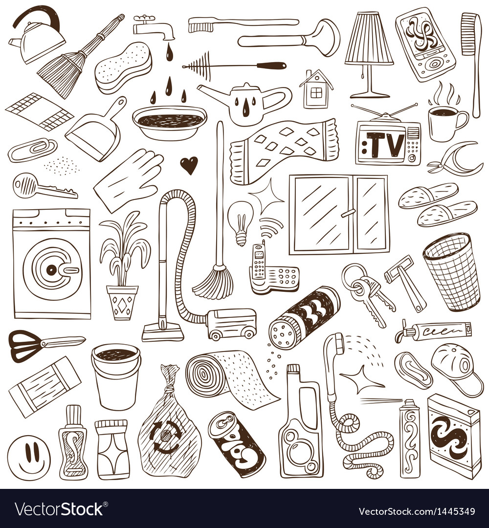 Cleaning house  doodles vector