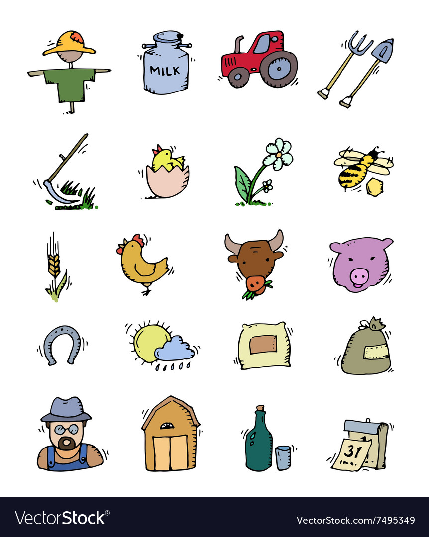 Colored hand drawn farm icon set vector