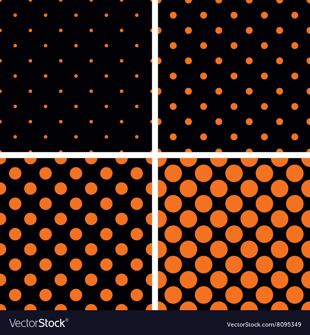 Orange polka dots on black background set vector