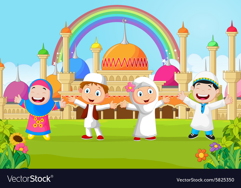 Cartoon happy kid muslim with rainbow vector