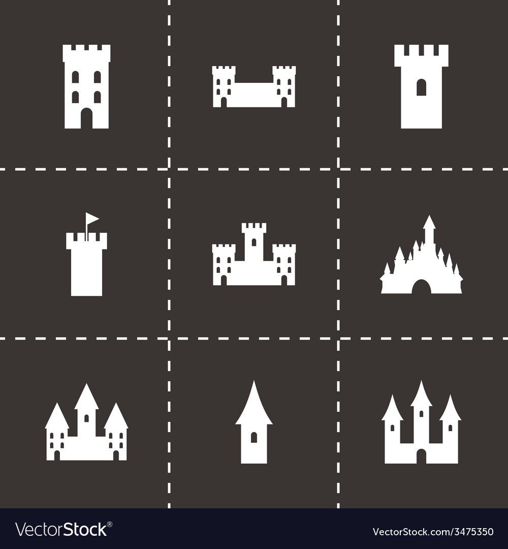 Castle icon set vector