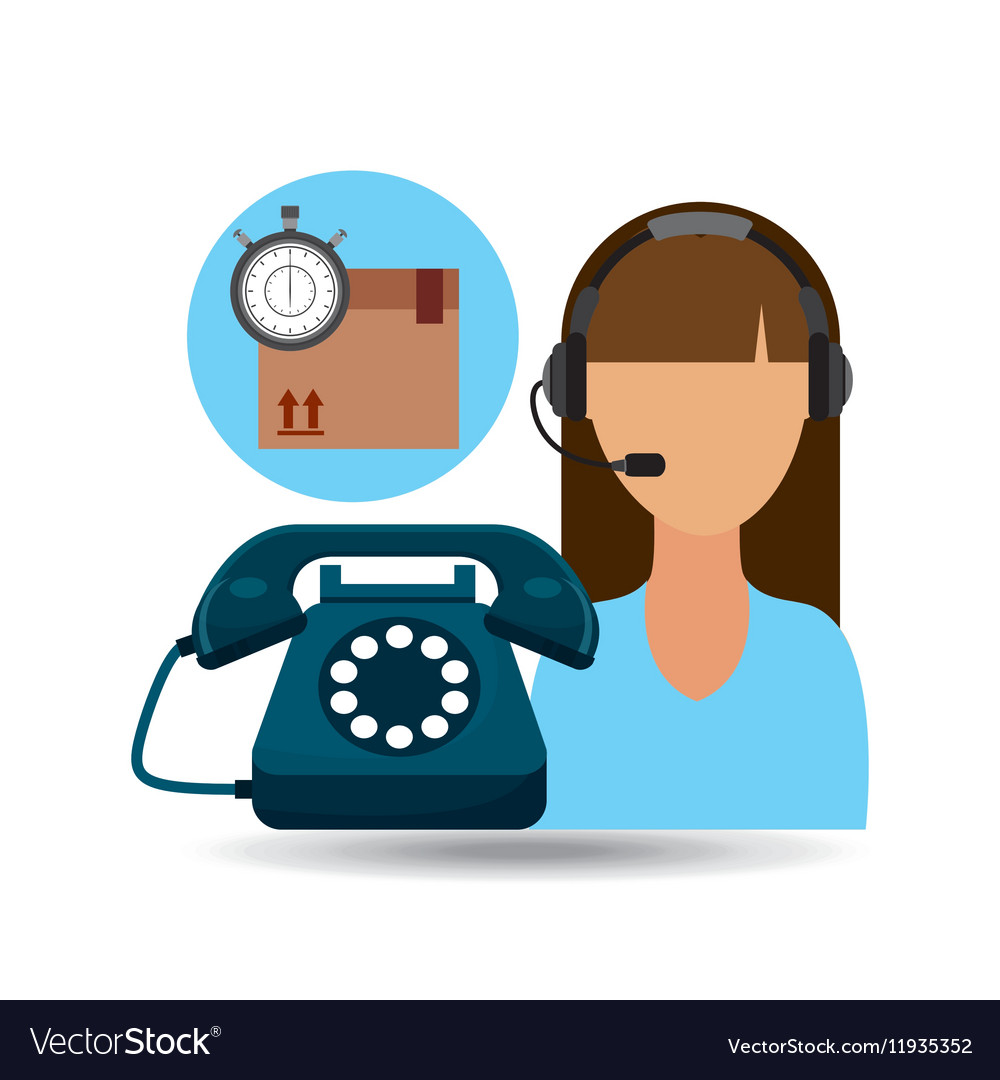 Call centre woman working delivery time vector