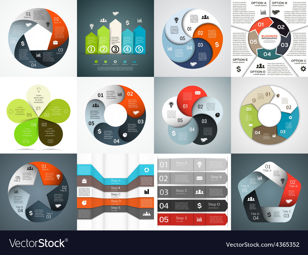 Infographics templates set template for vector